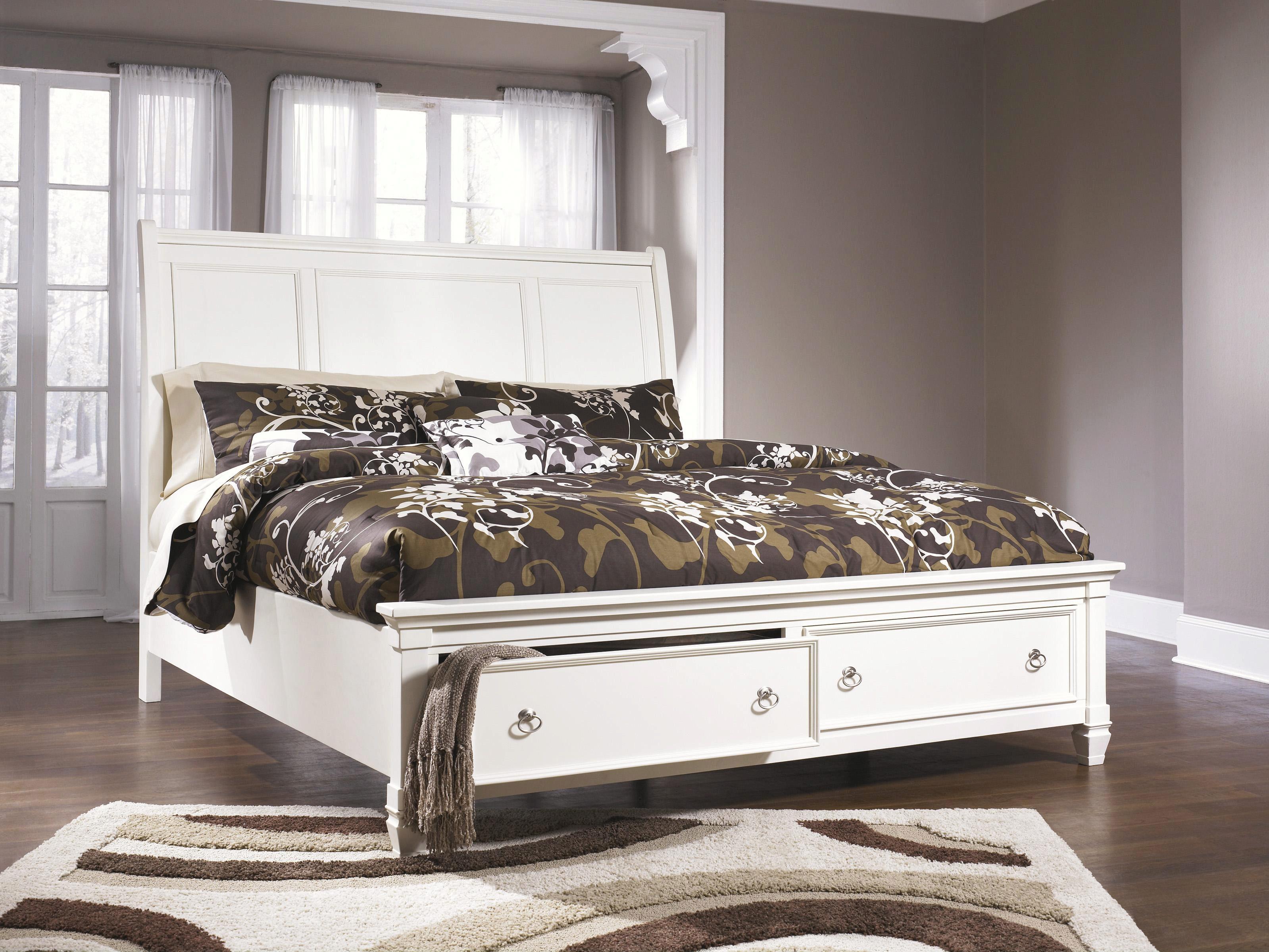 Ashley Prentice B672 King Size Sleigh Bedroom Set 5pcs In White B672 31 36 46 78 76 99 93 Set 5