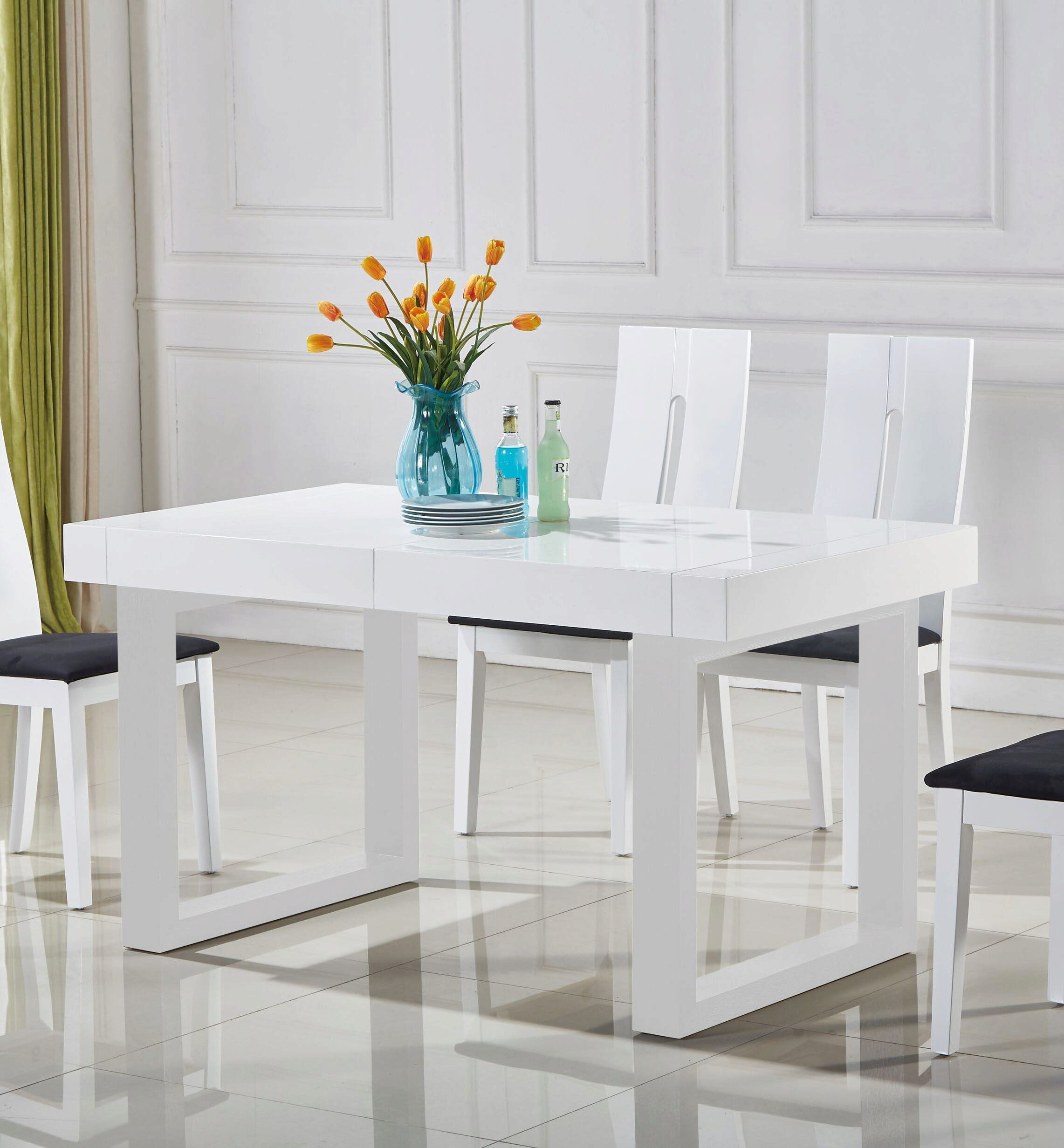 At Home Usa Laura White Glossy Ultra Modern Extendable Dining Table Set 5pcs 9506w 6059 Dining Table Set 5