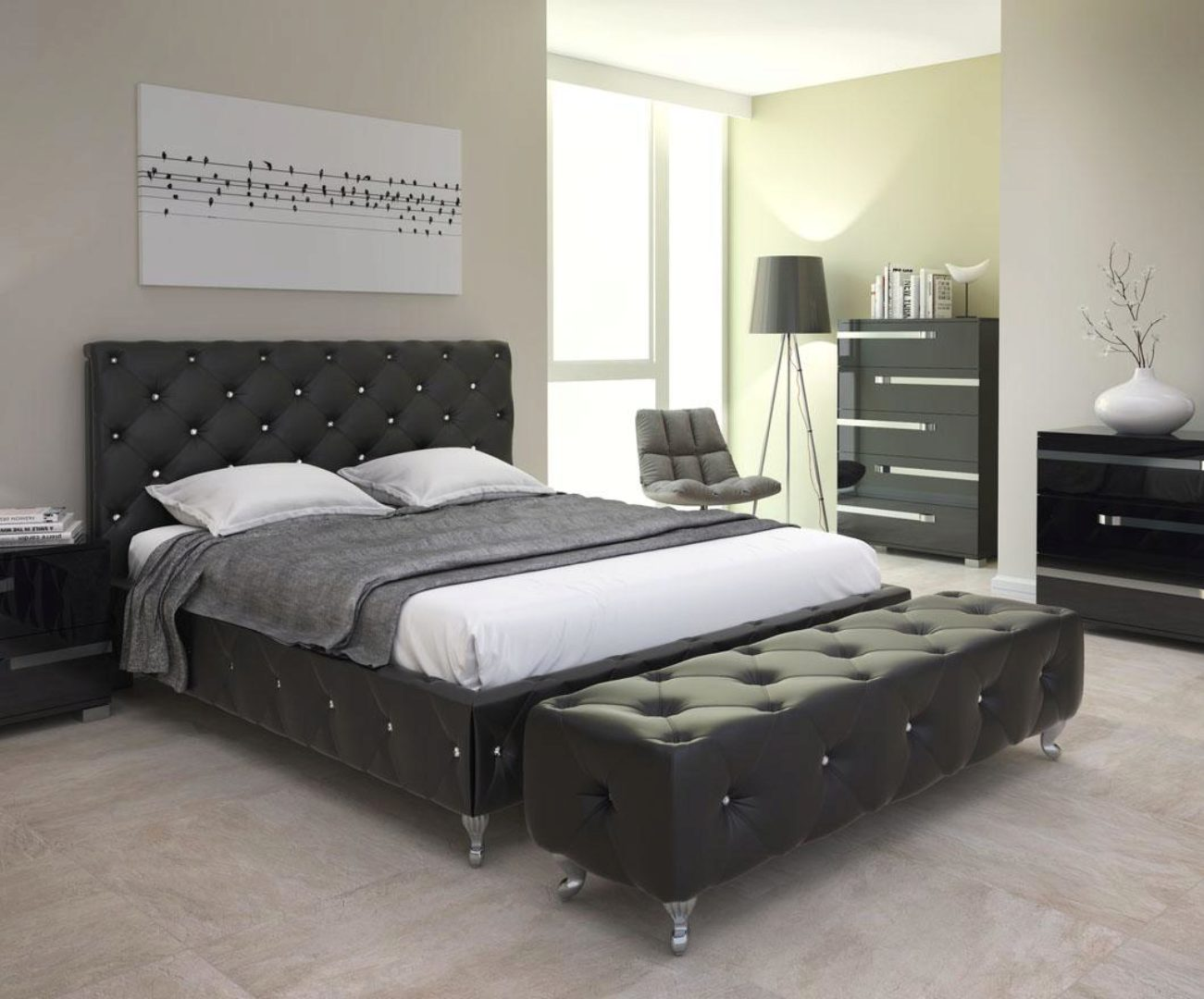 At Home USA Volare Glossy Black King Bedroom Set 3Pcs ...