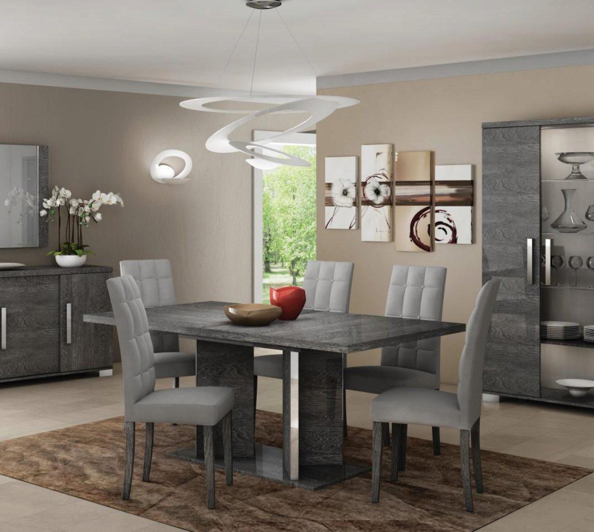 At Home Usa Sarah High Gloss Gray Birch Dining Table Set 7 Pcs Contemporary Sarah Grey Dining Room Set 7