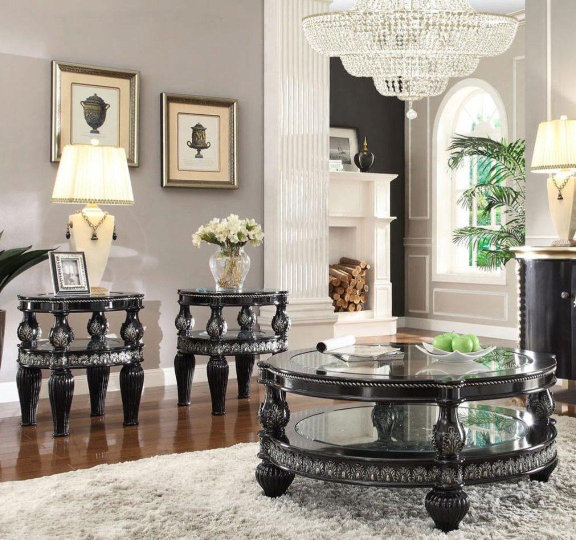 Black Enamel Silver Coffee Table Set 3pcs Traditional Homey Design Hd 1208 Hd 1208 Ctset3