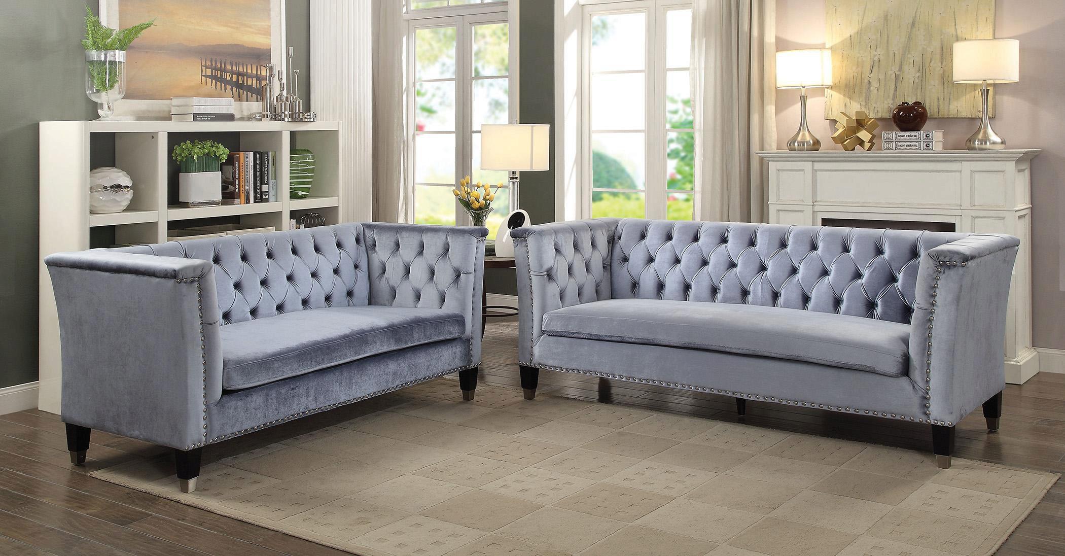 Picture of: Blue Grey Velvet Tufted Sofa Set 2 Pcs Vintage Traditional Acme 52785 Honor Honor 52785 Set 2
