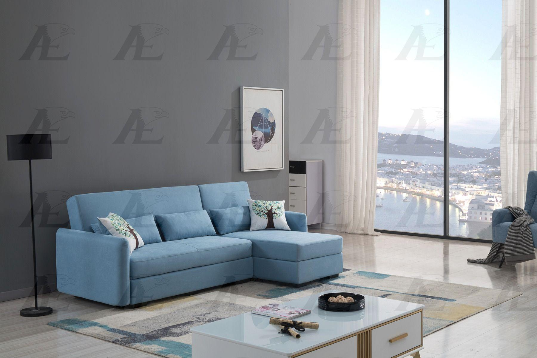 Blue Velvet Sectional Sofa Bed Set W Storage Right Chaise American Eagle Ae Ld828 Ae Ld828 Rhc