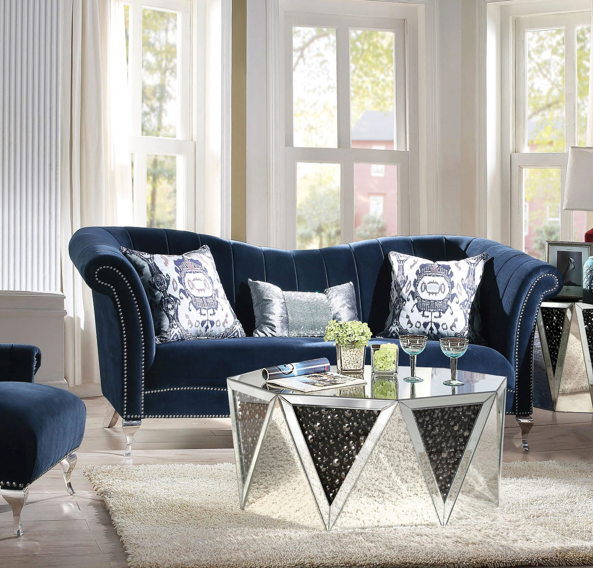 Glam Blue Velvet Sofa W Pillows Vintage Traditional Jaborosa 50345 Acme Jaborosa 50345 Sofa