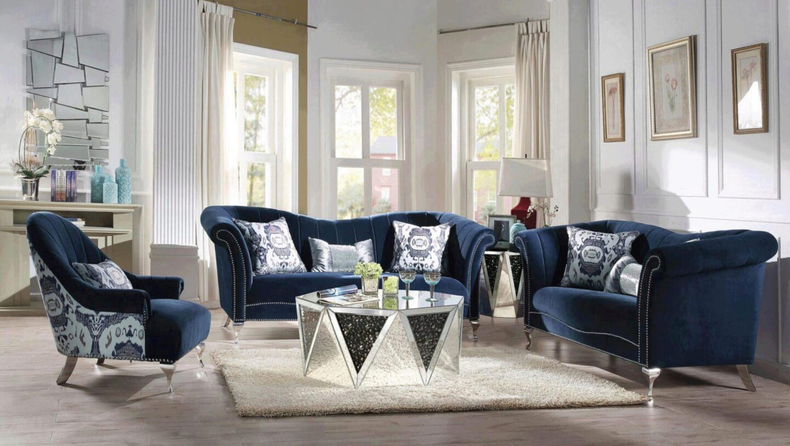 Glam Blue Velvet Sofa Set 5pcs W Coffee, Velvet Living Room Furniture