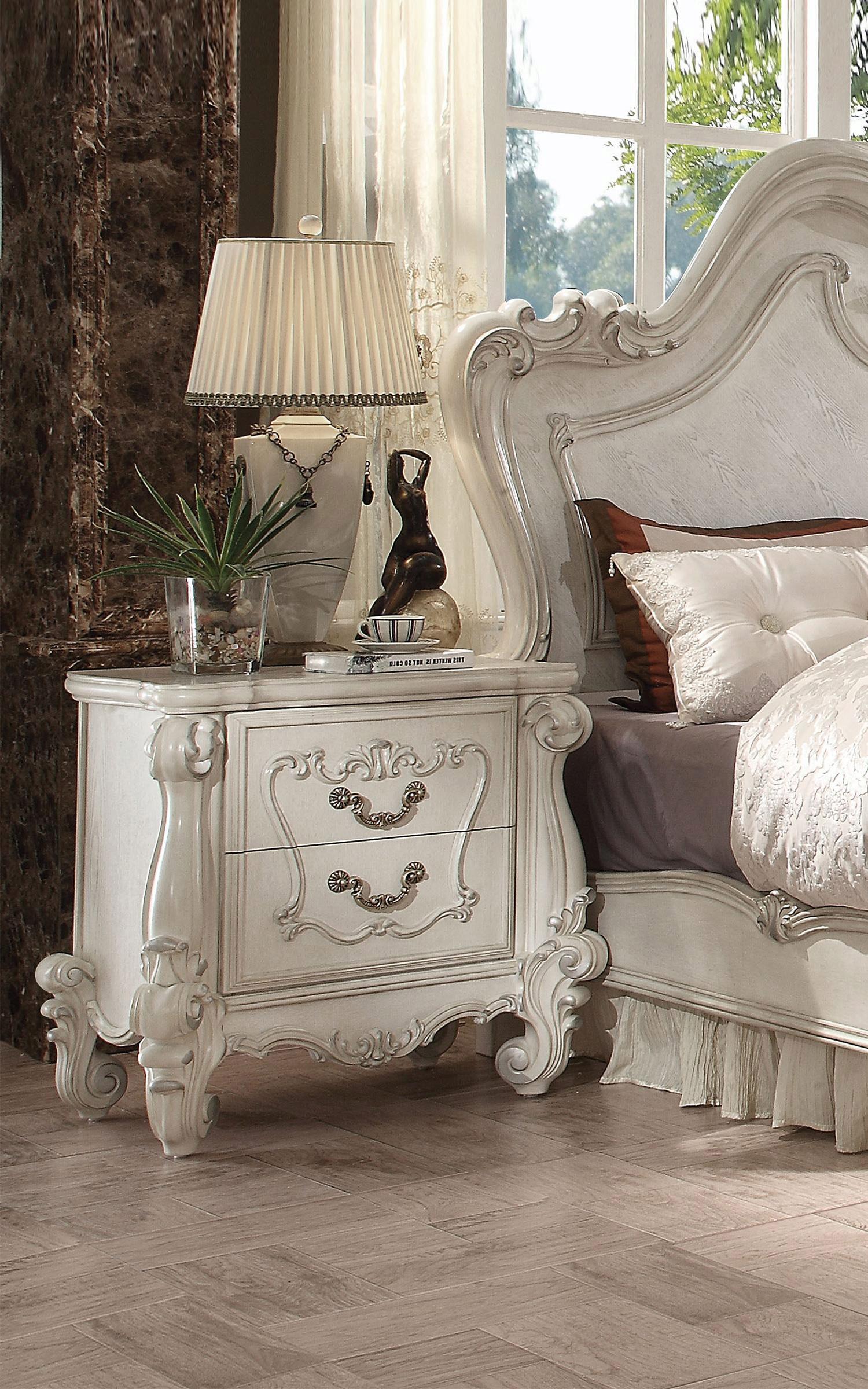 Bone White Queen Bedroom Set 5 Pcs Versailles 21760q Acme Vintage Classic Versailles 21760q Set 5