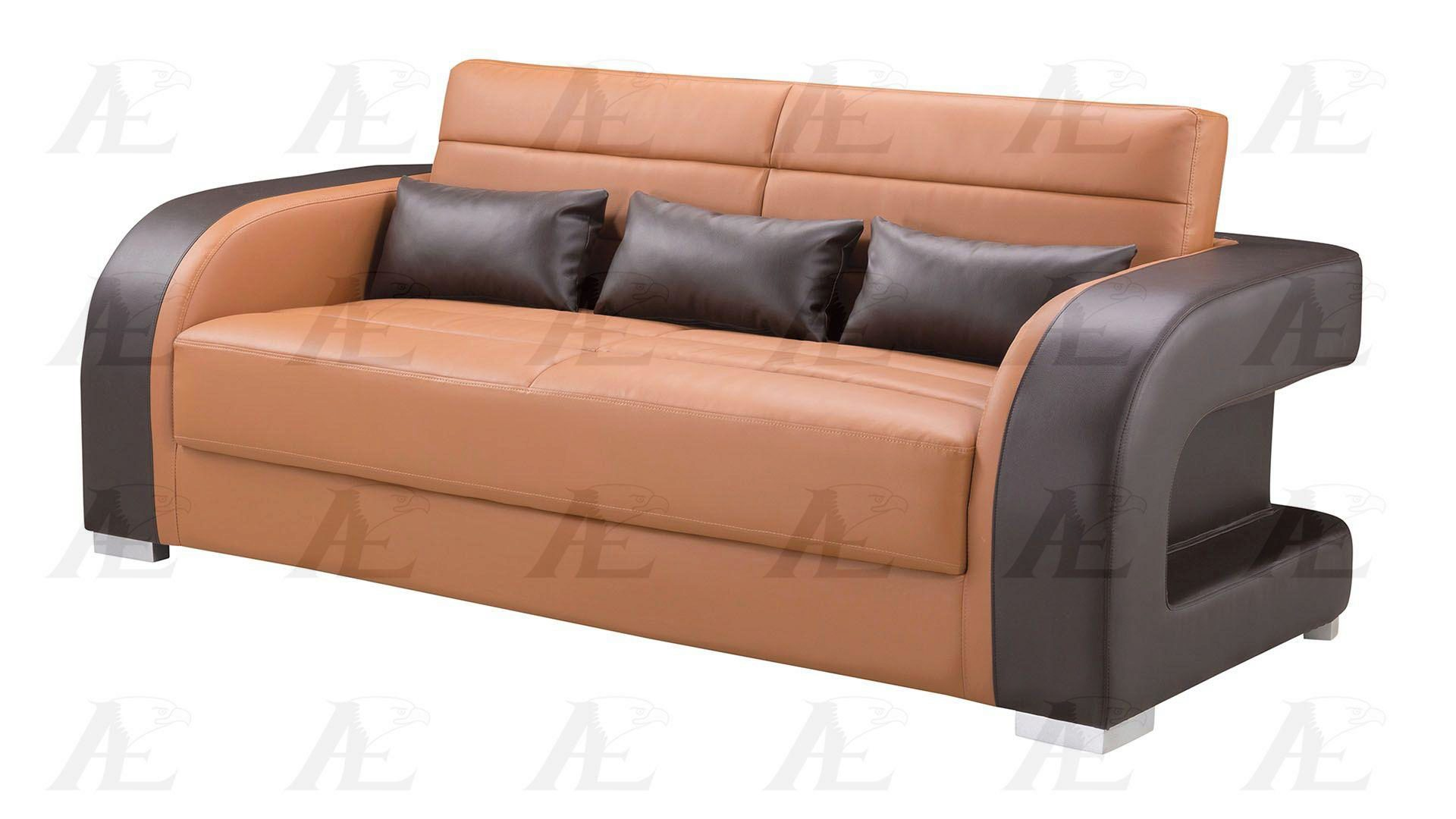 Picture of: Camel Dark Brown Faux Leather Sofa Set W Coffee Table 4pcs American Eagle Ae D816 Ae D816 Ca Db Set 4