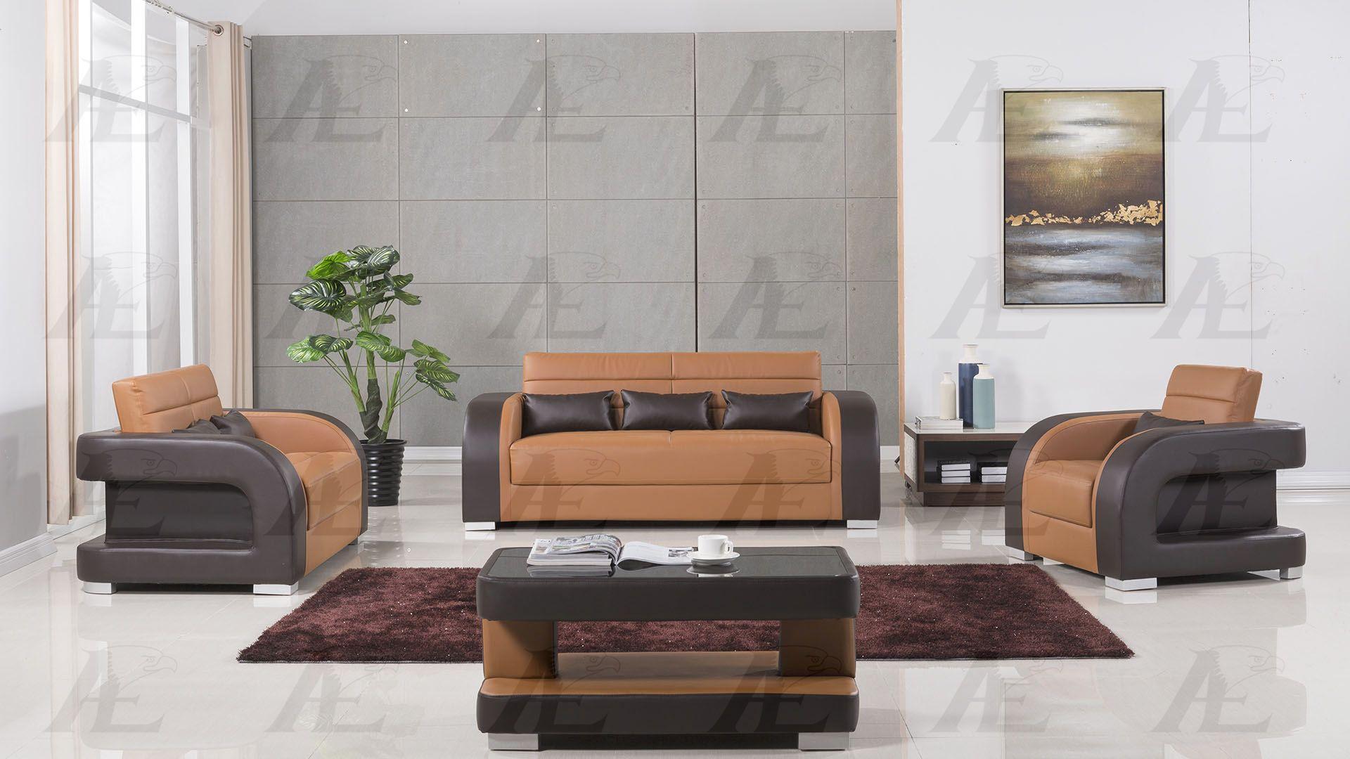 Camel Dark Brown Faux Leather Sofa Set W Coffee Table 4pcs American Eagle Ae D816 Ae D816 Ca Db Set 4