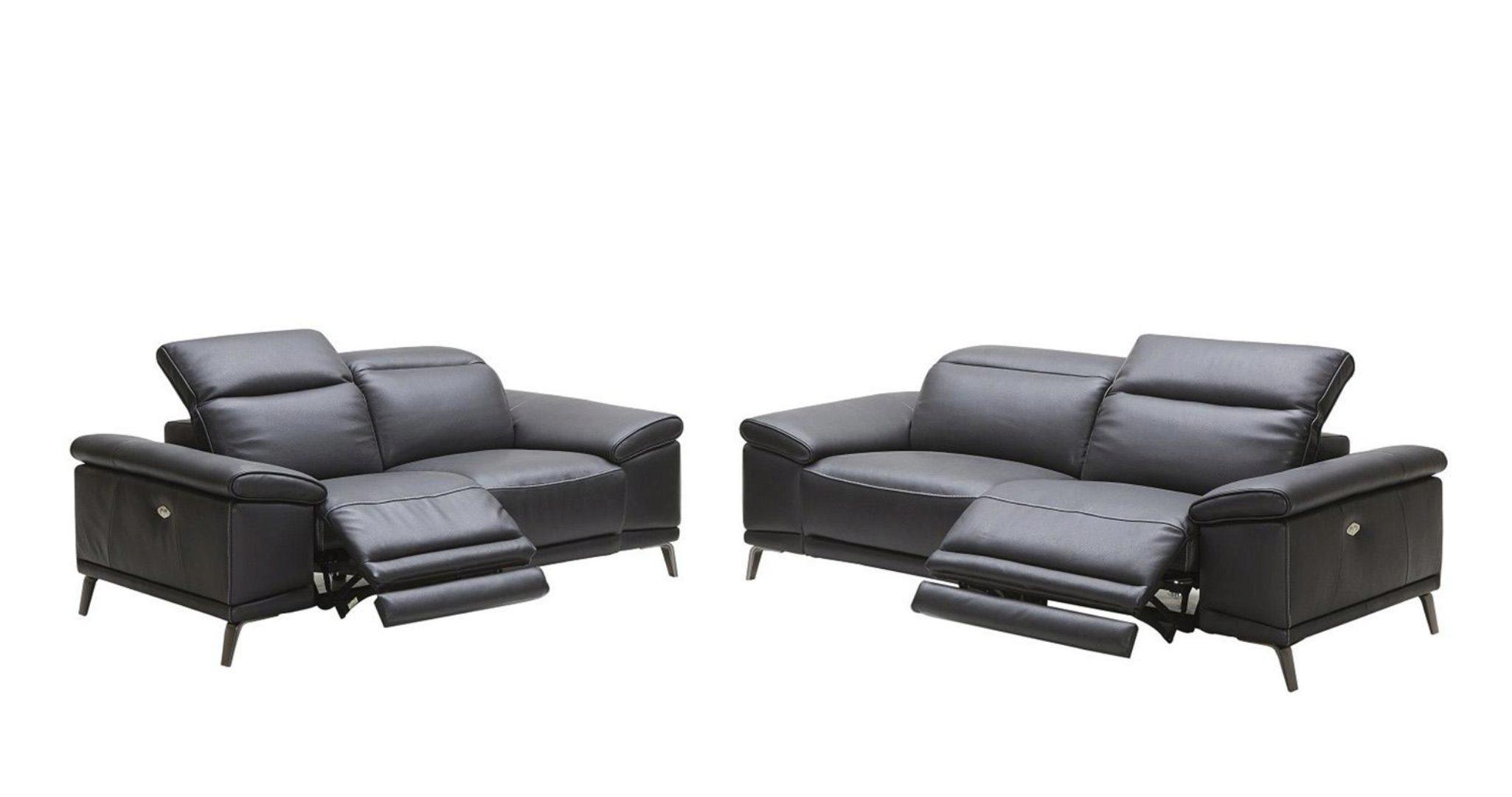 Picture of: Black Italian Genuine Leather Carnegie Power Reclining Sofa Set 2pc Contemporary Carnegie Recliner Sofa Set