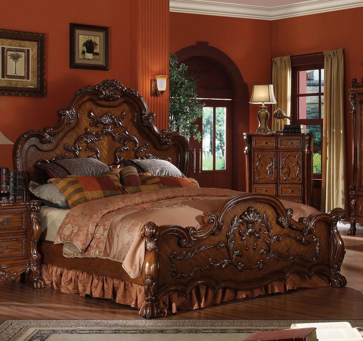 cherry oak king bedroom set 5pcs carved wood 12137ek
