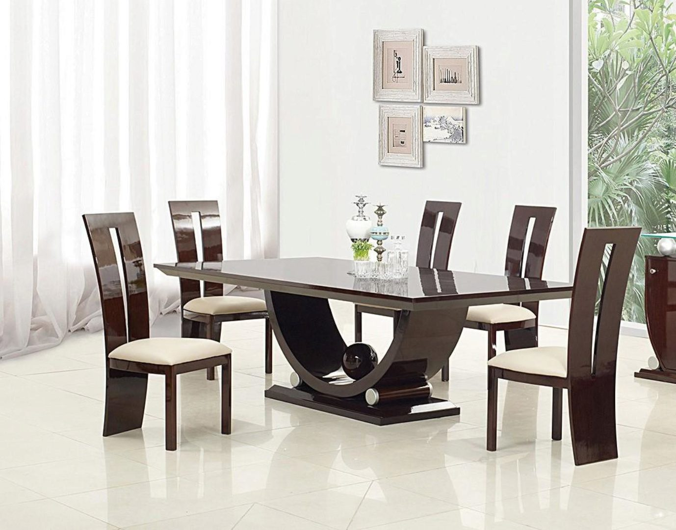 Dark Brown Lacquer Finish Dining Room Set 7pcs Contemporary Global United D12117 D12117 Dining Set 7
