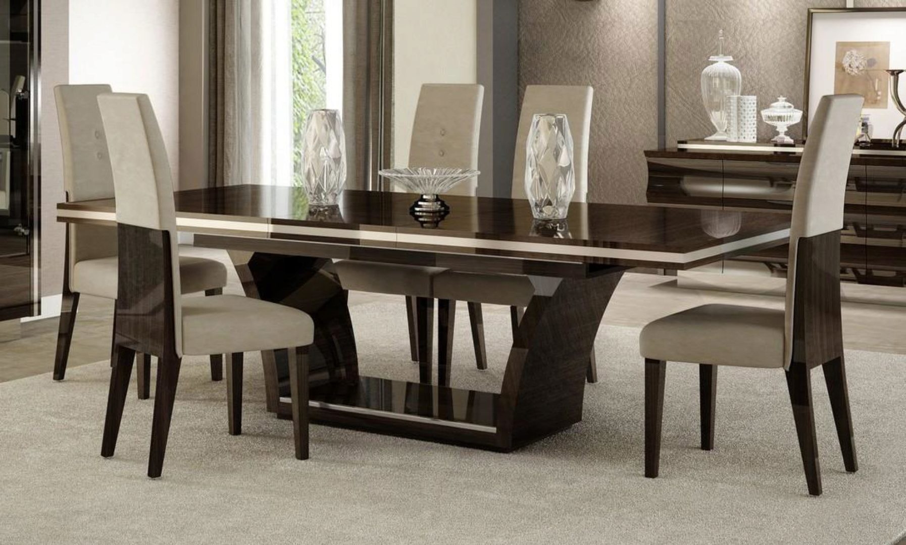 Contemporary Wenge Lacquer Finish Dining Table Set 7pcs Soflex Sylvester Sylvester Dining Set 7