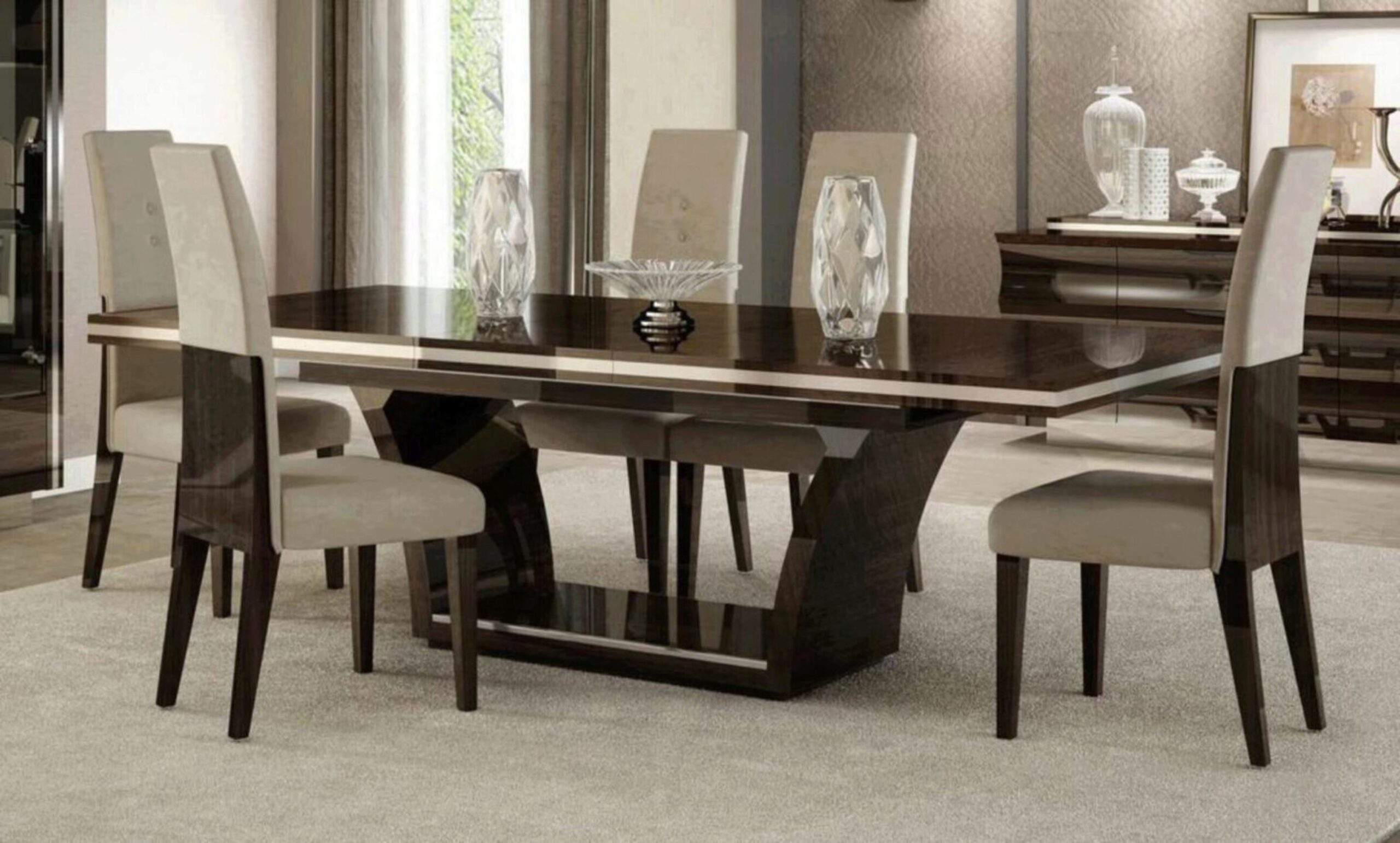 Contemporary Wenge Lacquer Finish Dining Table Set 9Pcs Soflex Sylvester