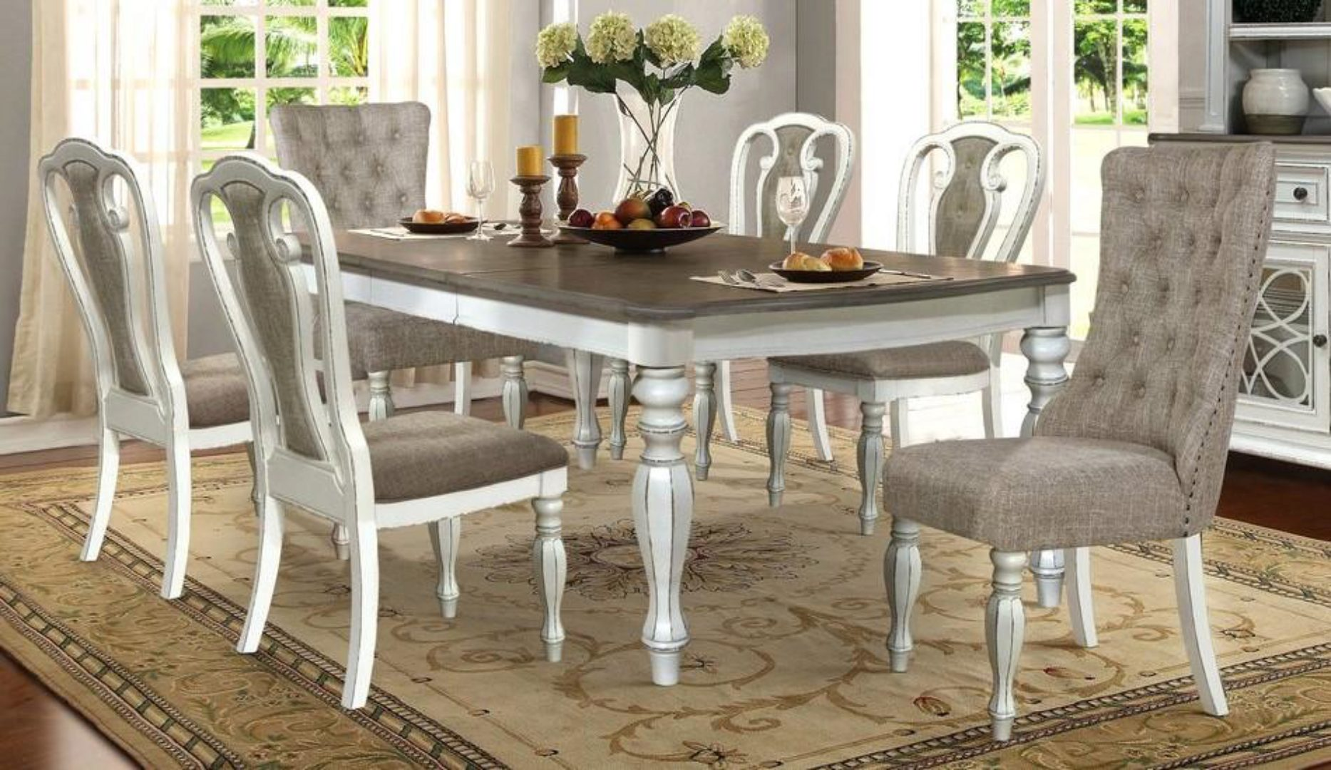 Cottage Distressed Whitewash Dining Room Table Mcferran D738 D738 T