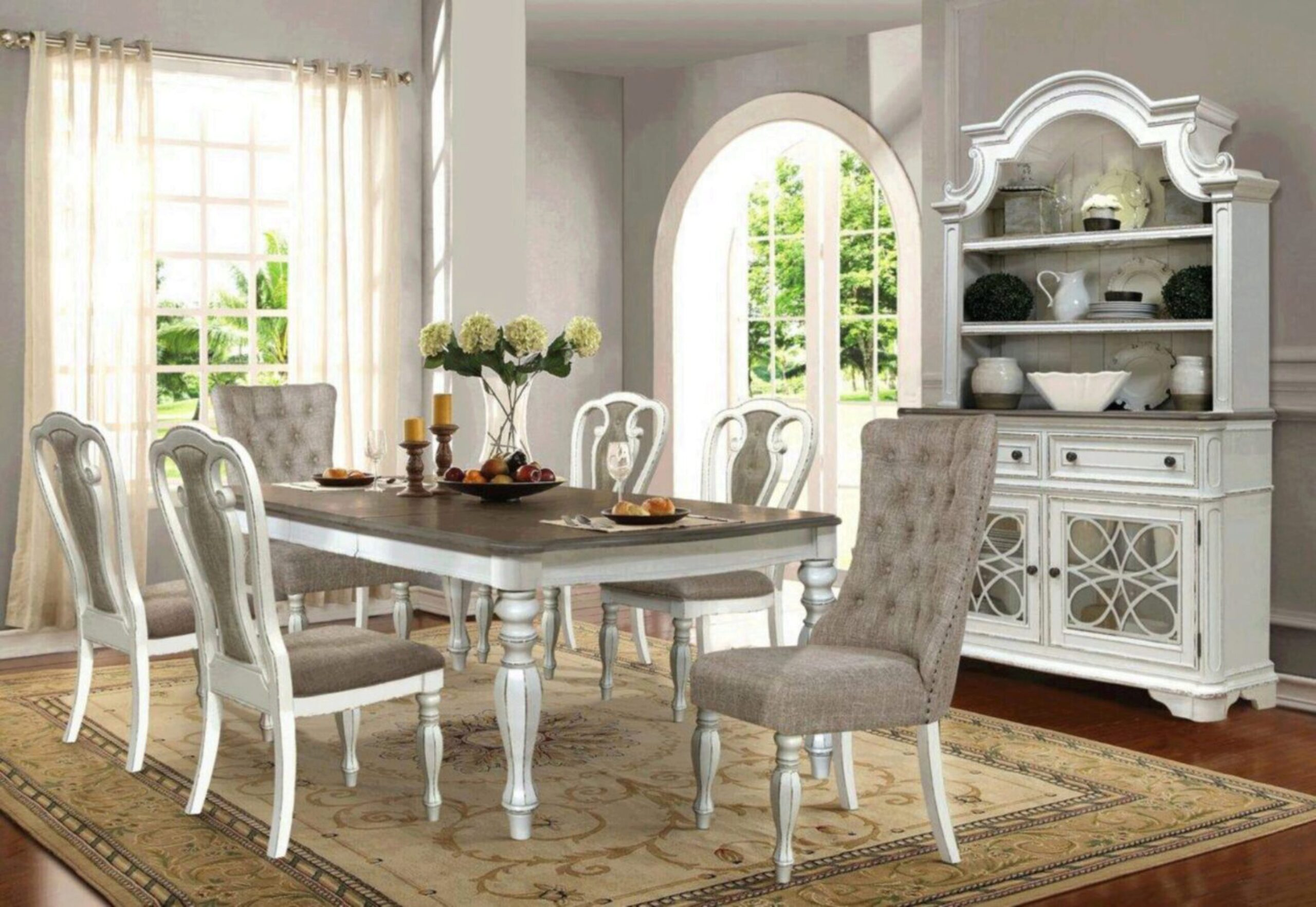 Cottage Distressed Whitewash Dining, White Dining Room Table And Hutch