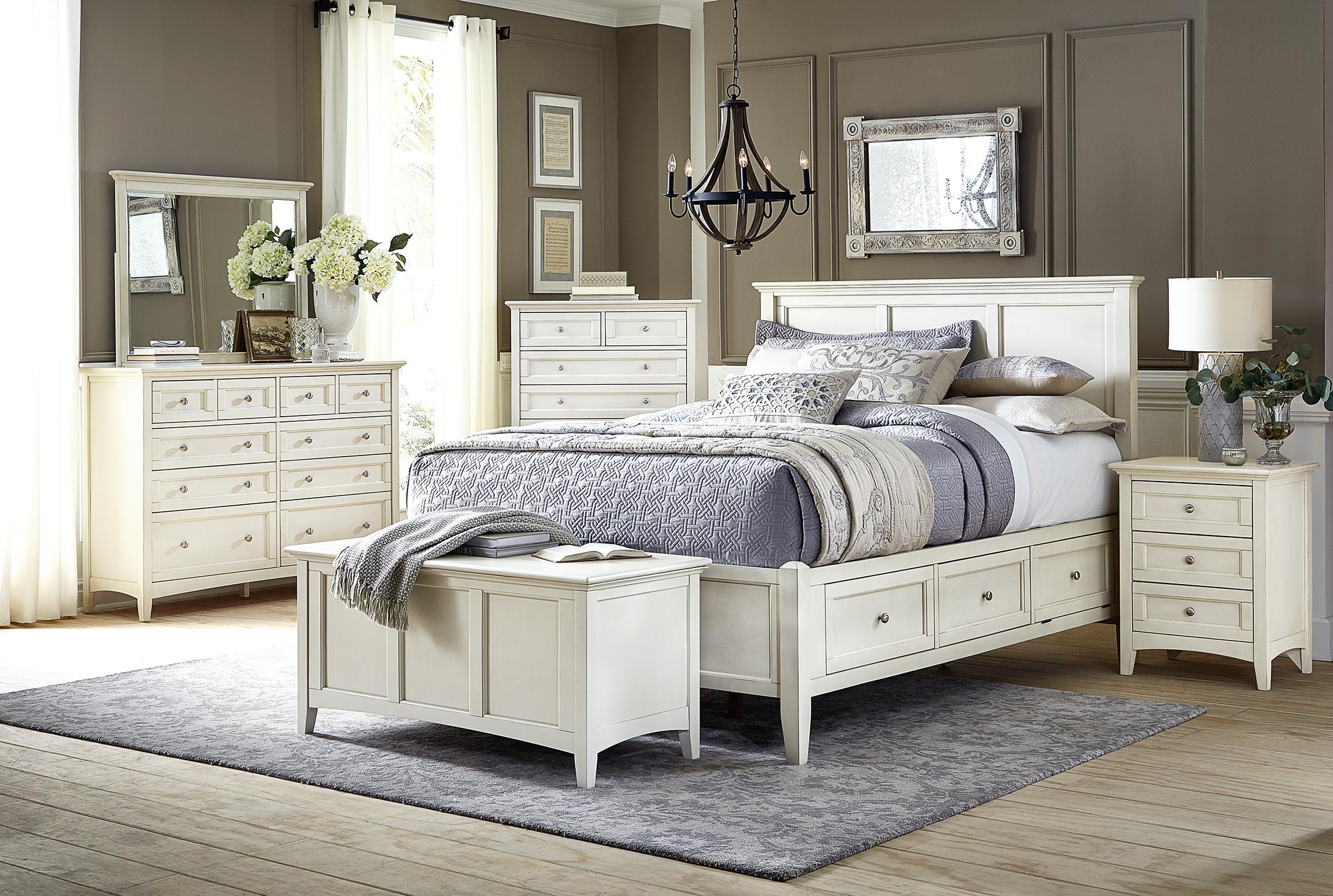 cottage king storage bedroom set 4ps white linen nrlwt5131