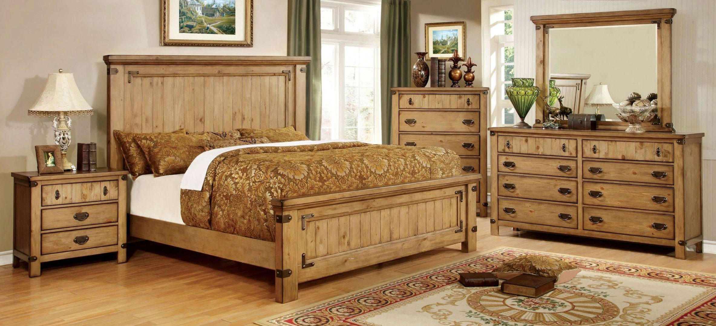 Cottage Wood King Bedroom Set 5 W Chest Natural Pioneer By Furniture Of America Cm7449ek 5pc Chest