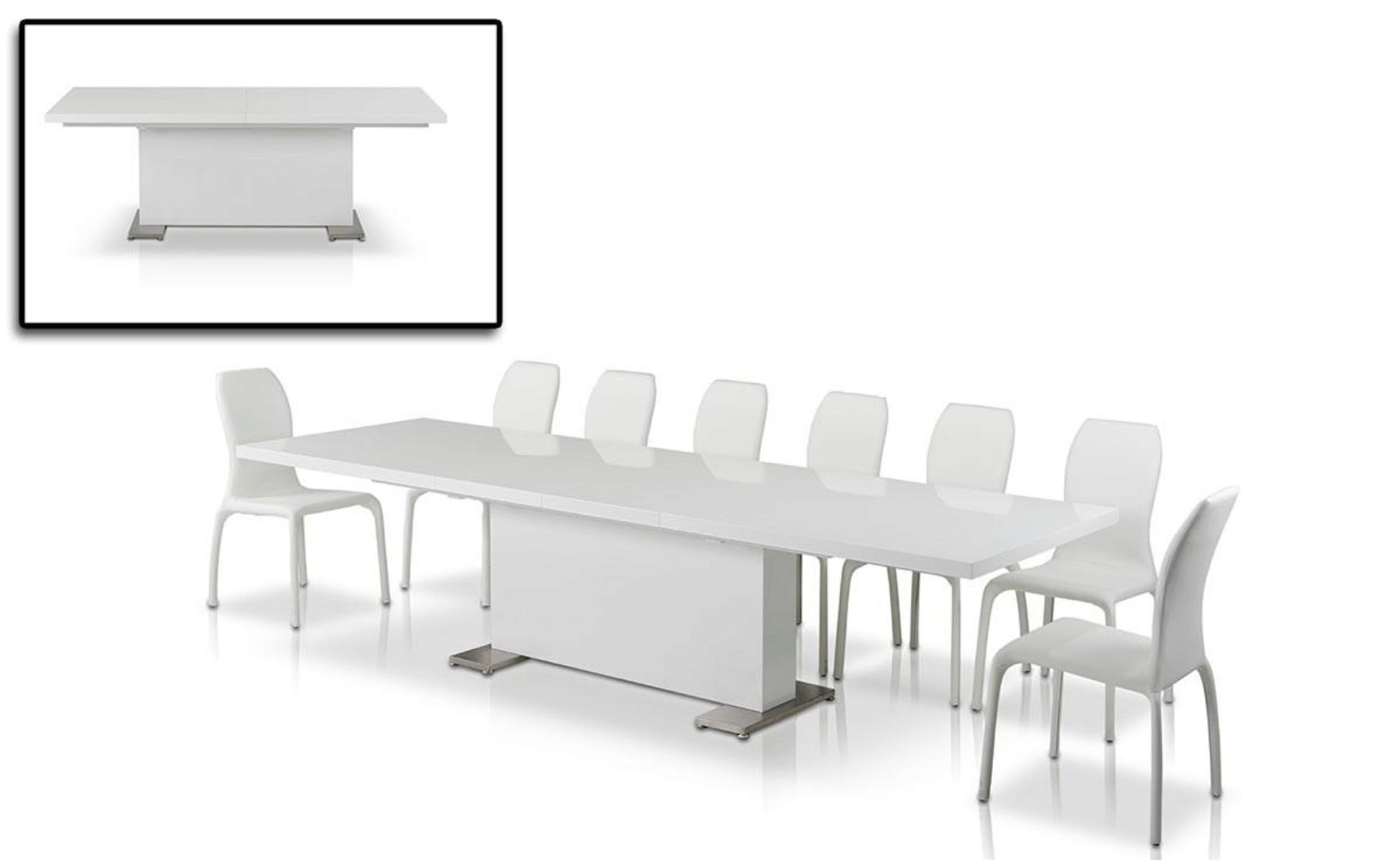 Glossy White Critchlow T Extendable Dining Table Ultra Contemporary Modern Critchlow Quot T Quot Dt