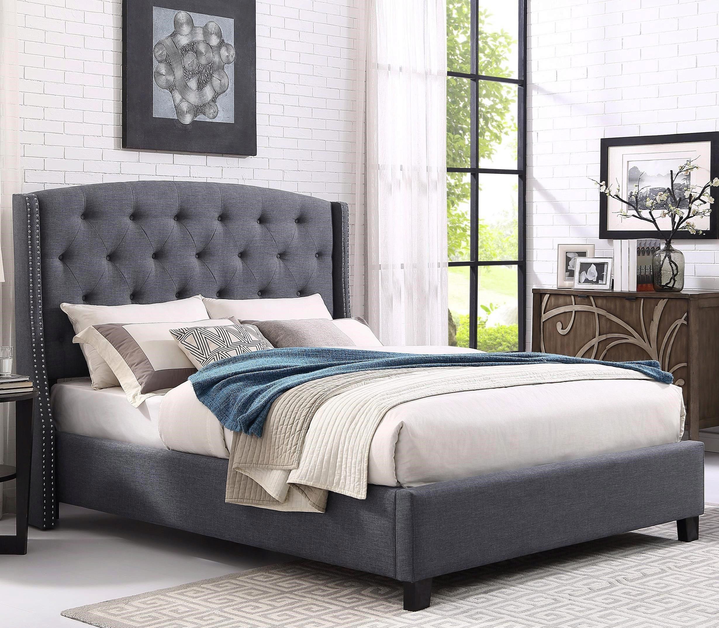 Crown Mark 5111 All Eva Grey Fabric Tufted Headboard King Size Bed 5111gy Ek Bed