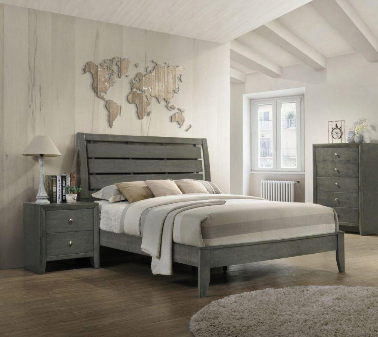 Crown Mark B4720 Evan Solid Wood Grey Finish King Size Bedroom Set 3pcs B4720 Ek Set 3