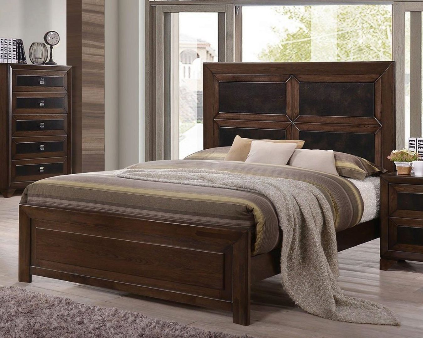 crown mark b6950 sussex rich wood finish solid wood king