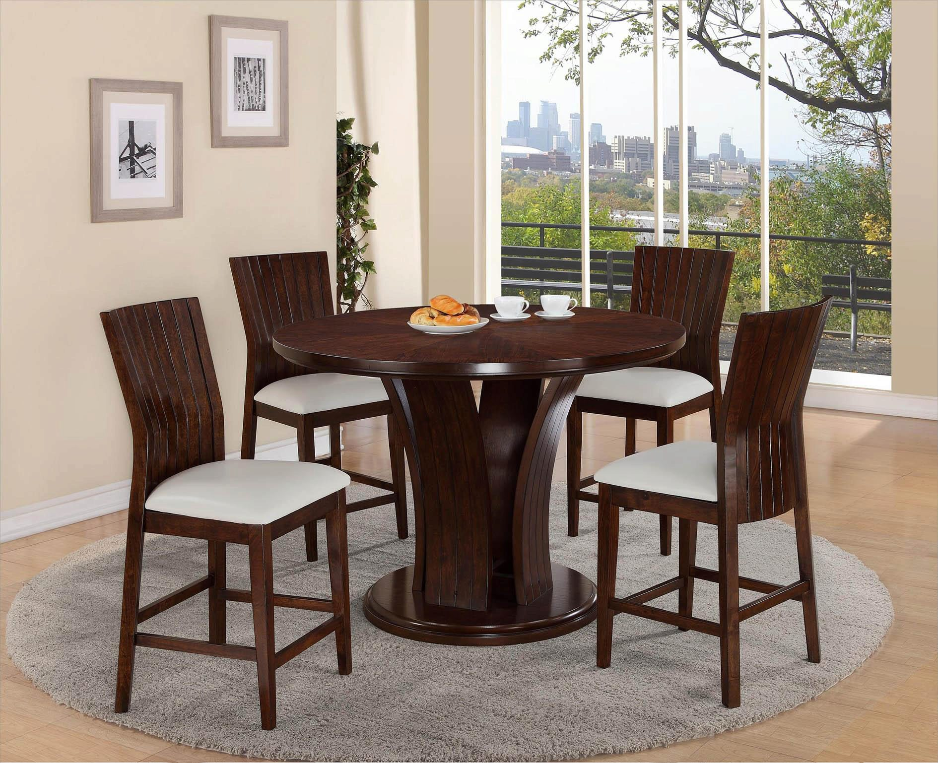 Picture of: Crown Mark D2734wh Daria Round Pub Height Dining Table And Stool Set 5pcs D2734wh Set 5