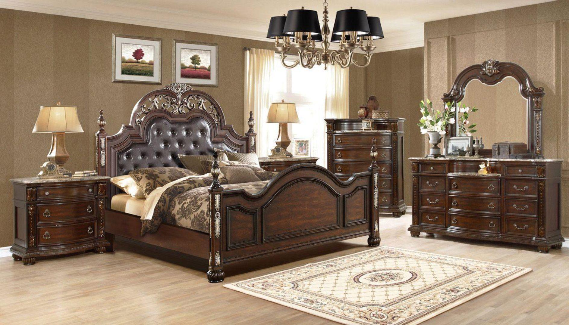 dark cherry upholstered poster king size bedroom set 6pcs