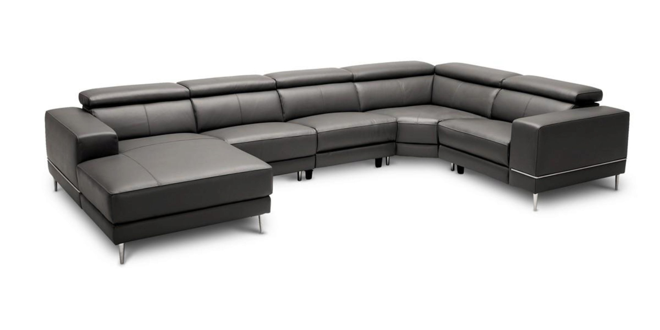 Picture of: Dark Grey Leather Sectional Sofa W 2 Electric Recliners Vig Divani Casa Wade Vgkmkm 5381h M1215 Nocon