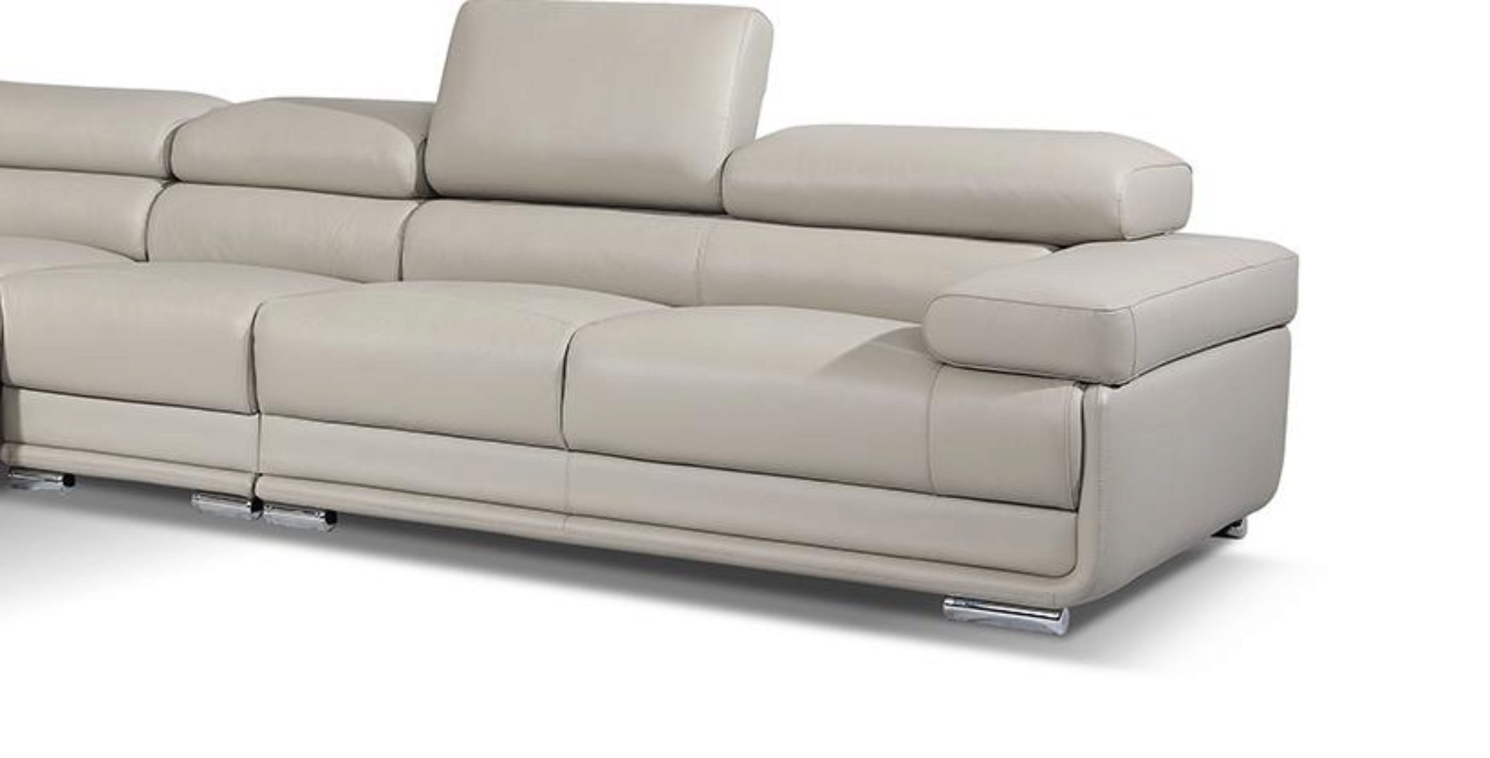 Light Grey Top Grain Leather Sectional Contemporary Modern Left Esf 2119 Esf 2119 Sectional Lhc