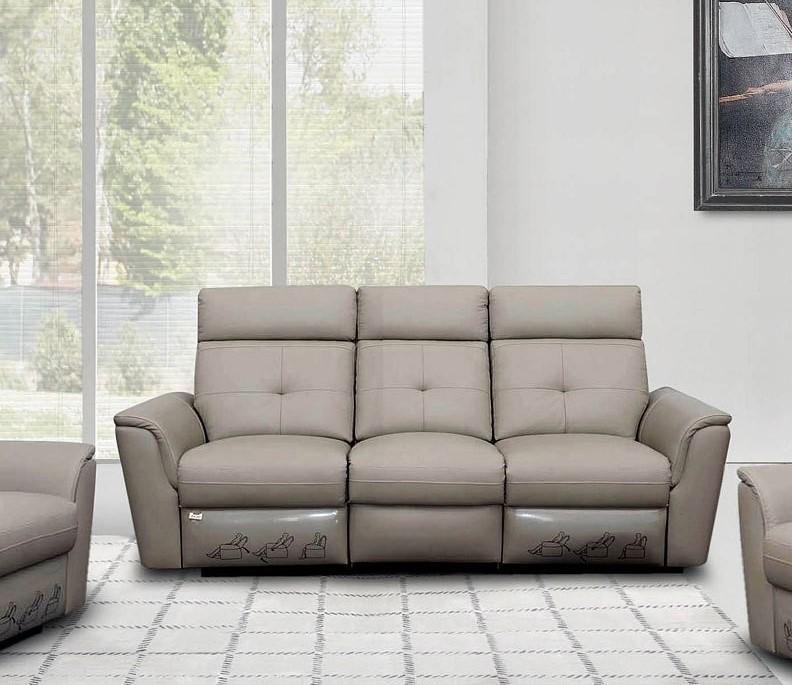 Light Grey Italian Leather Manual Recliner Sofa ...