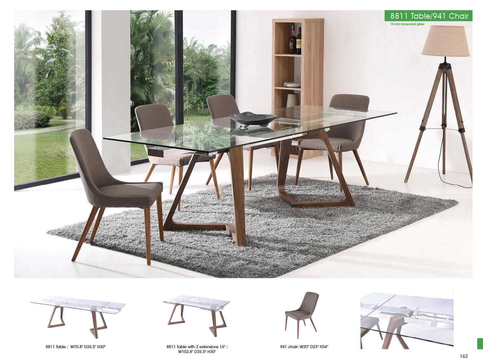 Oak Retro Dining Table W Extension 941 Chairs Set 7pcs Made In Italy Esf 8811 8811 Dt 941 Dc Dining Set 7