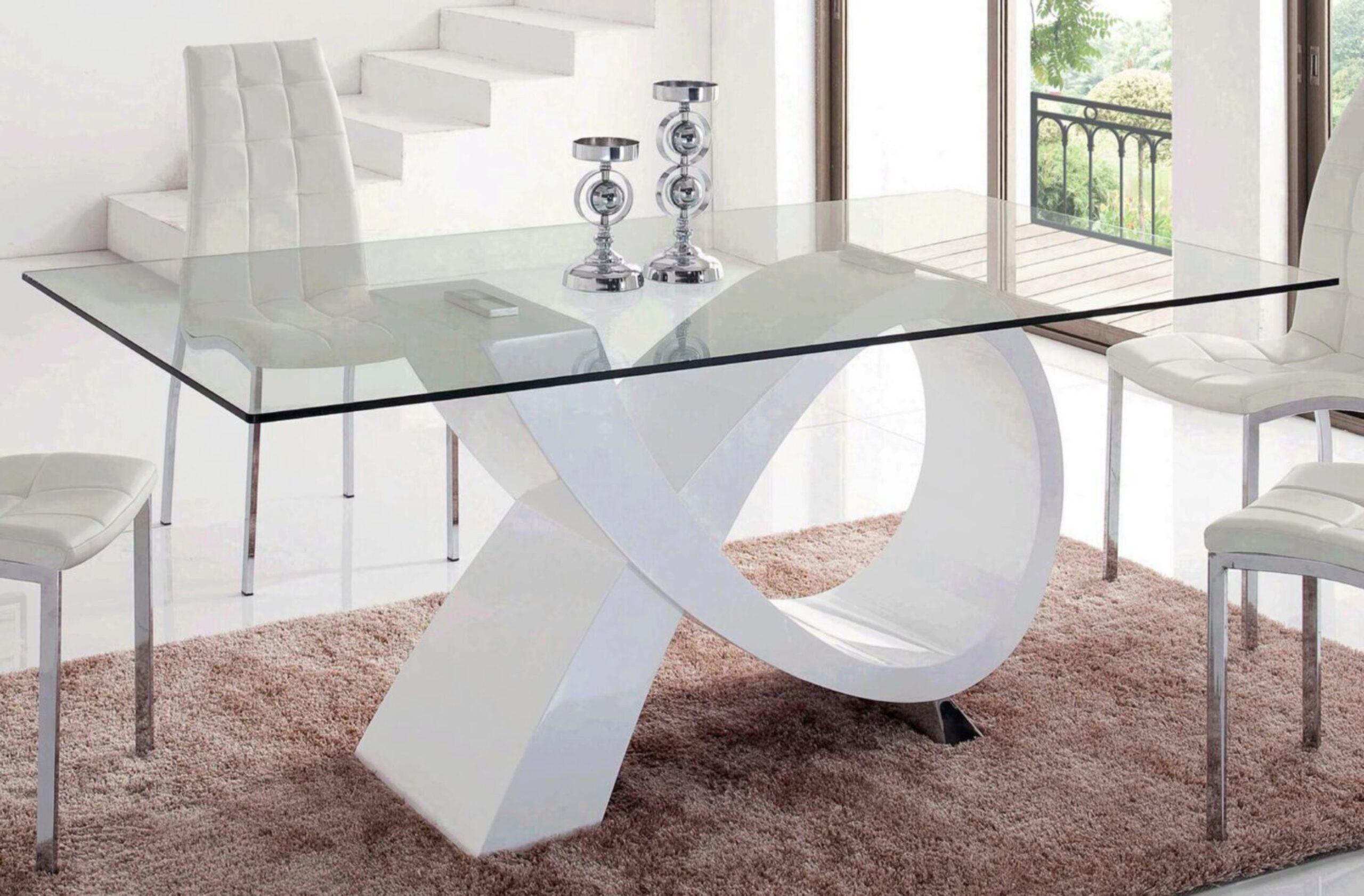 Rectangular Glass Top High Gloss Finish Dining Table Set 9Pcs ESF 9 DT  369 DC