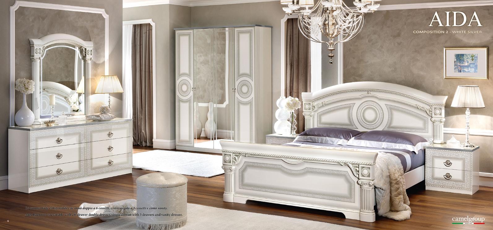 Esf Aida Glossy White Silver Finish King Platform Bedroom Set 5pcs Made In Italy Esf Aida White Silver Ek Set 5