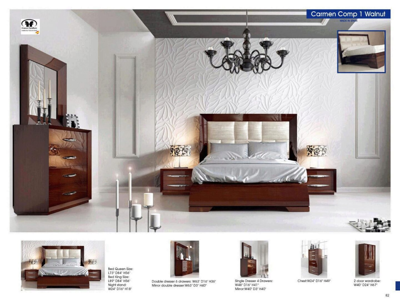 Walnut High Gloss Lacquer Finish King Bed 2 Nightstands Modern Esf Carmen Esf Carmen Walnut Ek Set 3