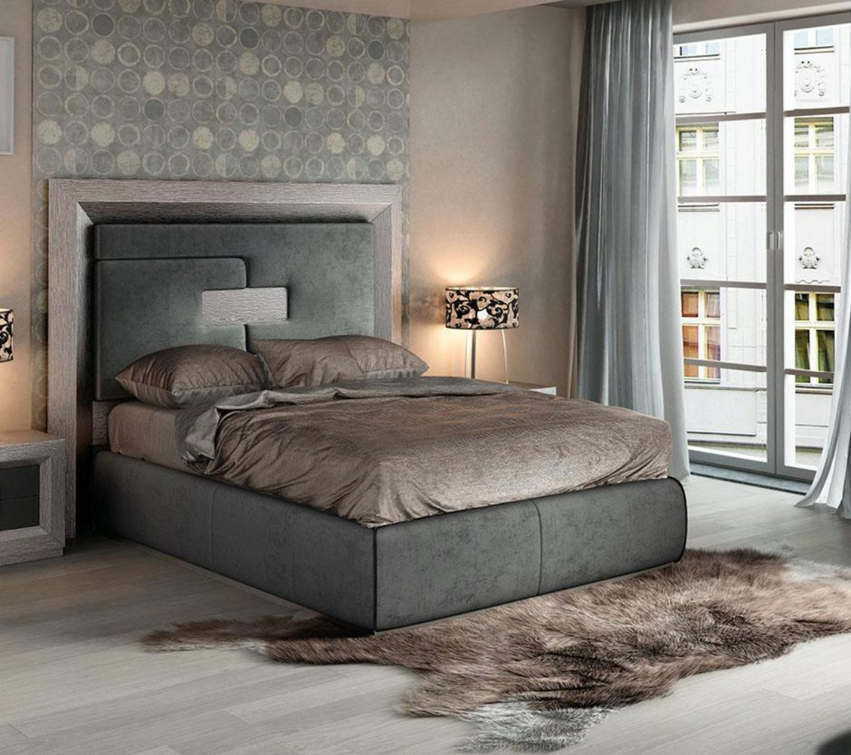 Picture of: Gray High Headboard Queen Bed Modern Contemporary Made In Spain Esf Enzo Esf Enzo Q Bed