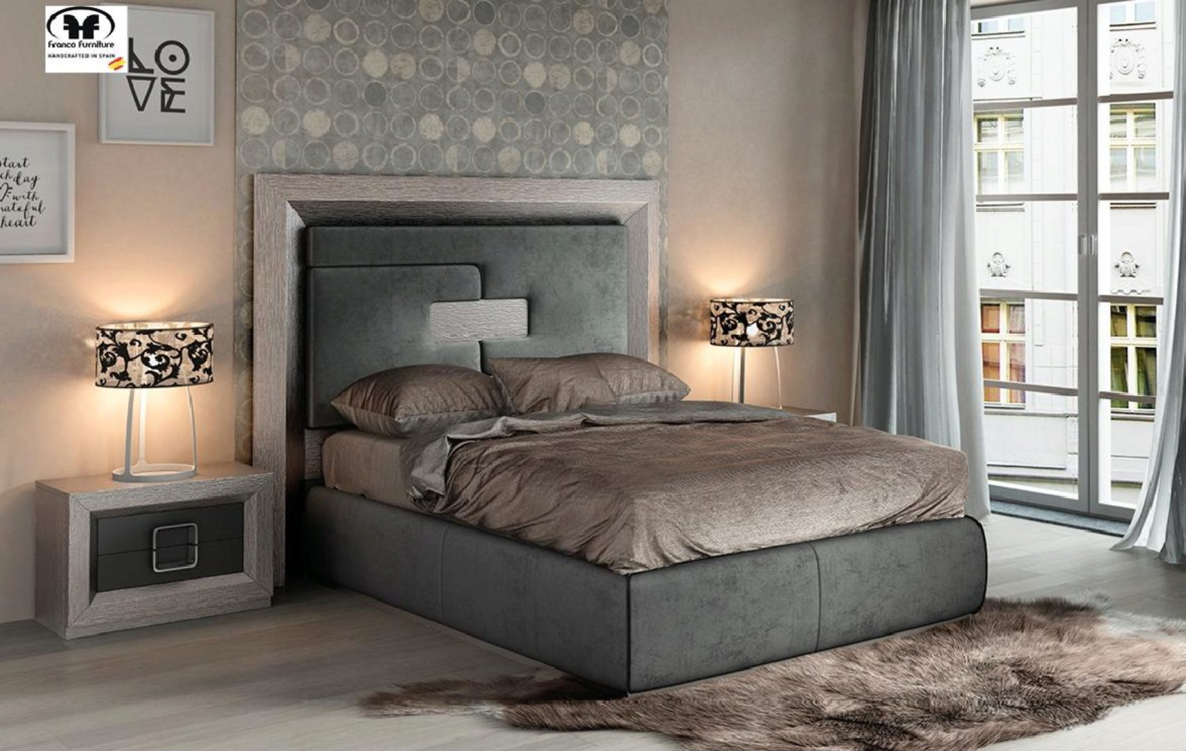gray wood queen bedroom set 5pcs modern contemporary made