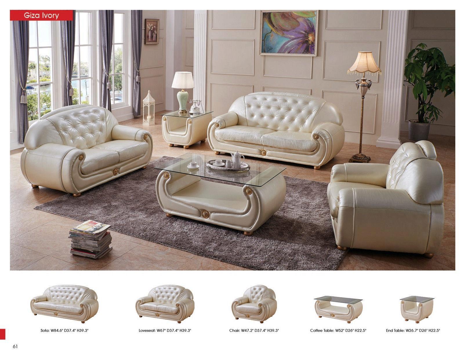 Luxury Light Beige Top Grain Leather Sofa Contemporary Esf Giza Esf Giza Beige Sofa