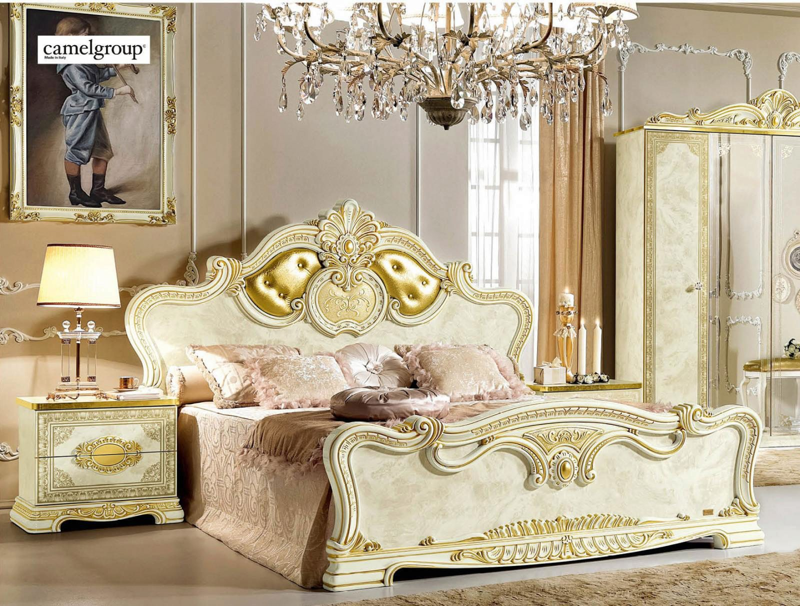 Luxury Gold Ivory King Bedroom Set 5 Classic Royalty Made ...