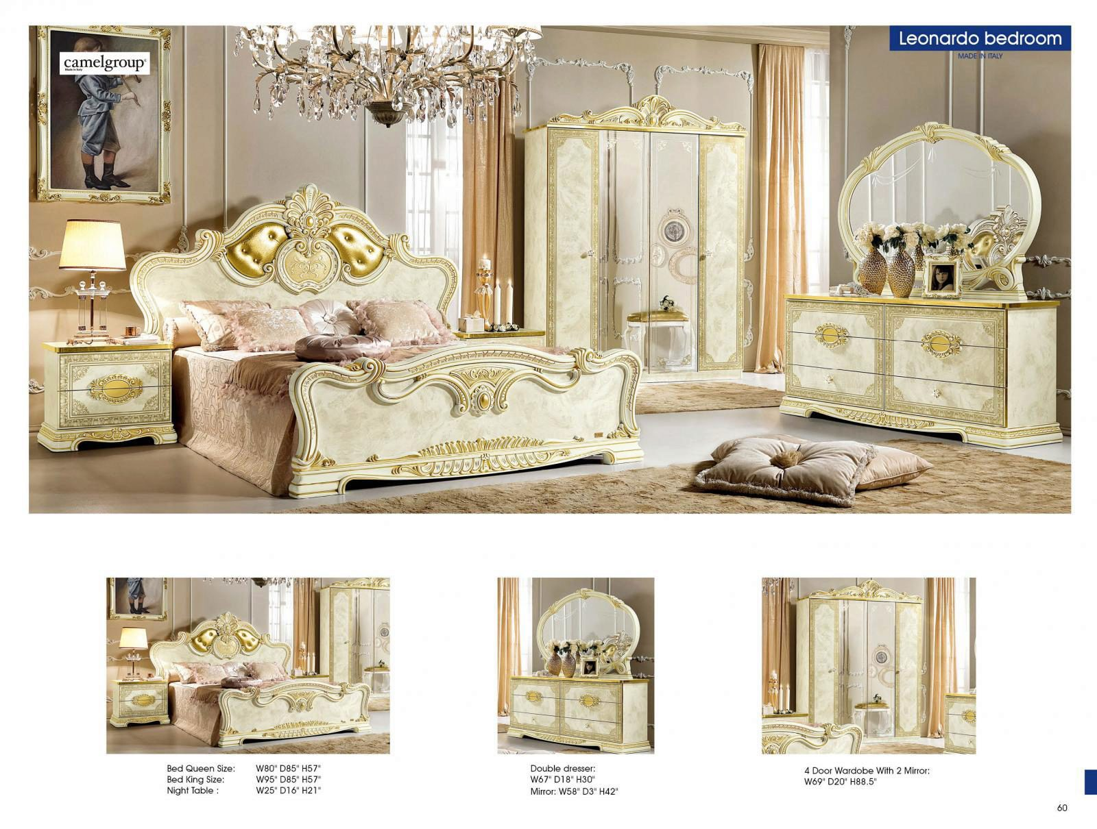 Luxury Gold Ivory King Bedroom Set 5 Classic Royalty Made In Italy Esf Leonardo Esf Leonardo Ek Set 5