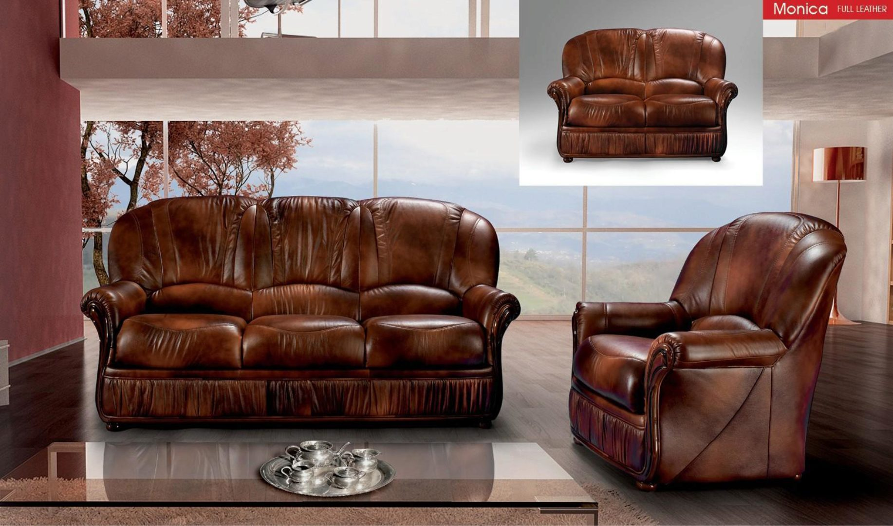 Brown Full Top Grain Leather Living Room Sofa Loveseat Classic Esf Monica Efs Monica Set 2