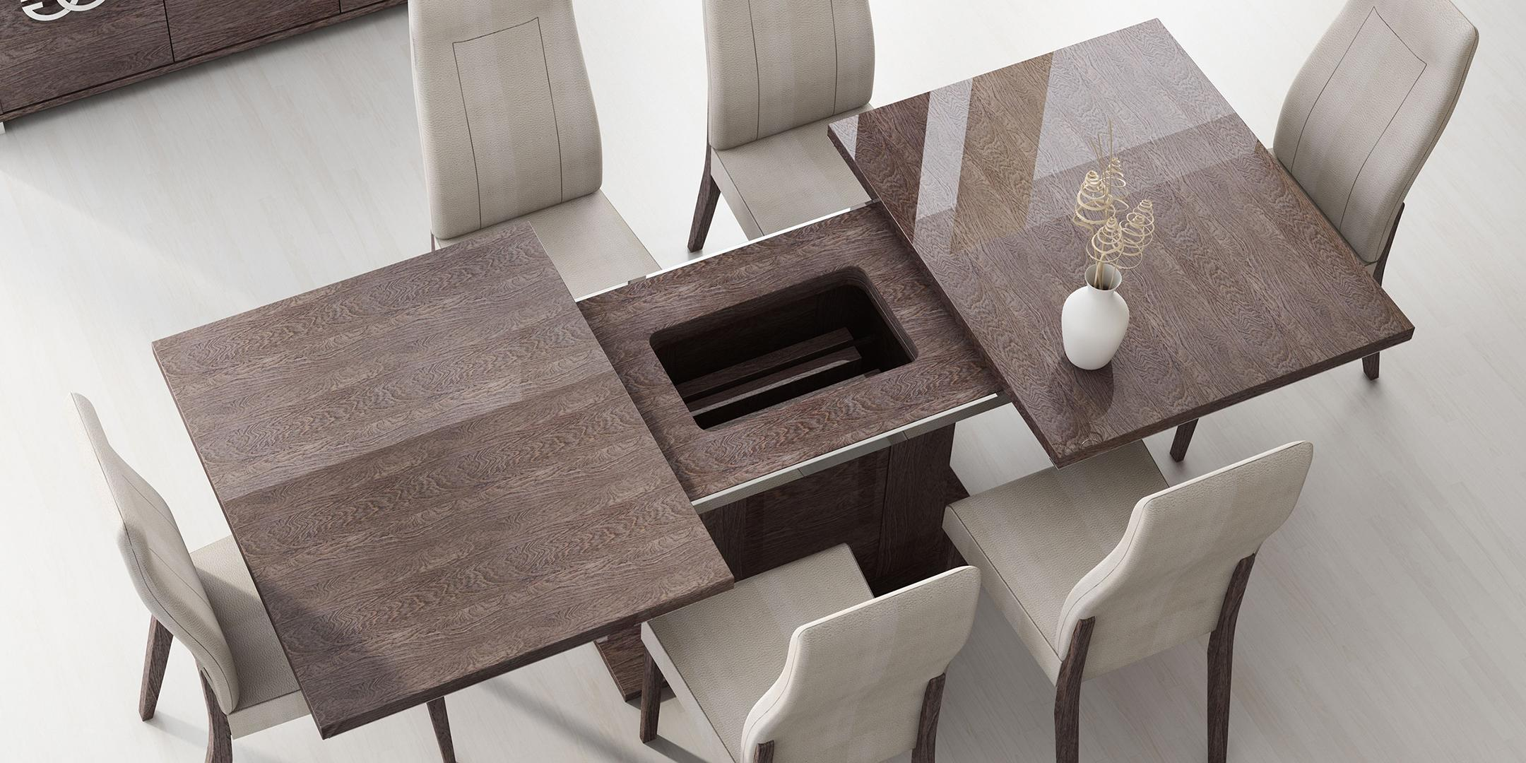 ESF Georgia High Gloss Wenge Dining Table Set 9Pcs Contemporary ...