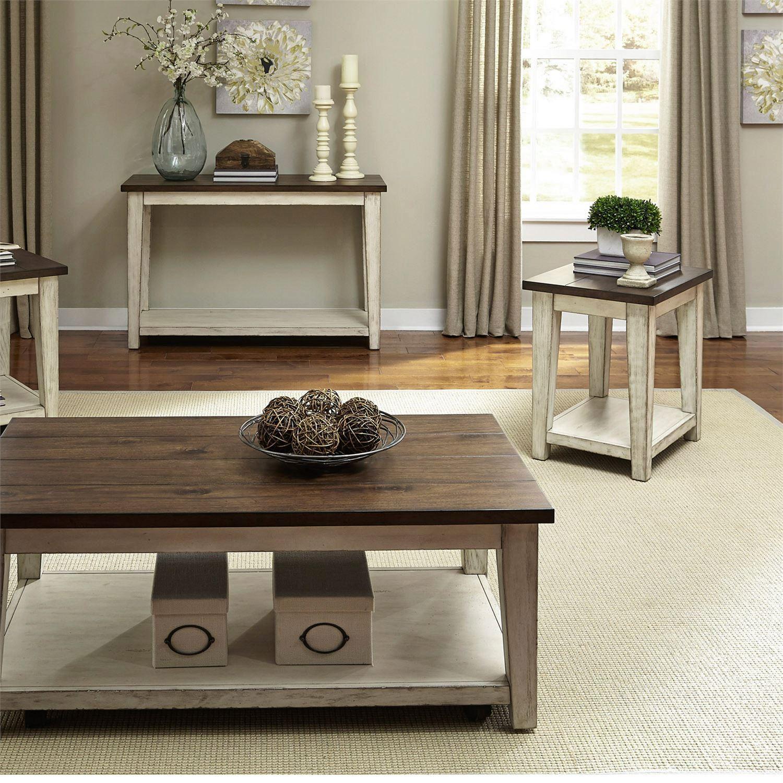 Weathered Bark Finish Coffee Table Set 3pcs Lancaster 612 Ot Liberty Furniture 612 Ot 3pcs