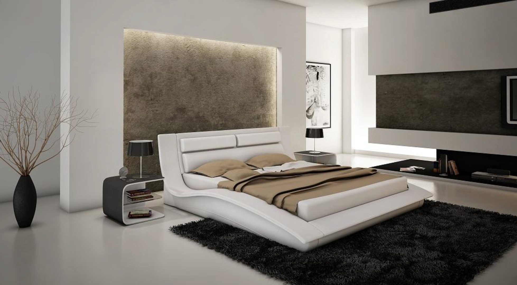 Glossy White Brackenridge Platform Queen Bedroom Set 4 Pcs Ultra Contemporary Brackenridge Q Bed Set 4