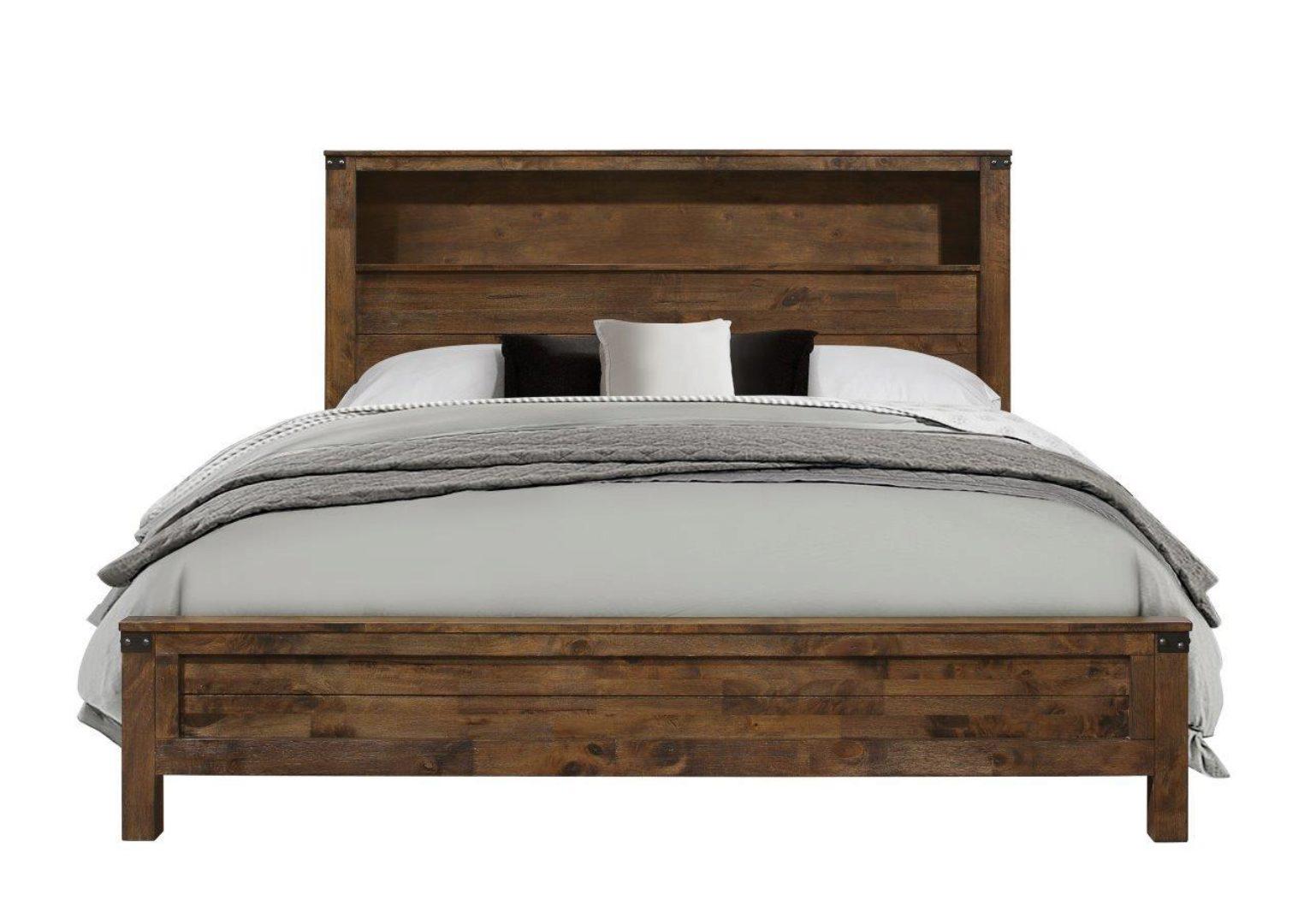 Global Furniture Victoria Rustic Oak Finish Queen Size Bedroom Set 5pcs Victoria Bedroom Q Set 5