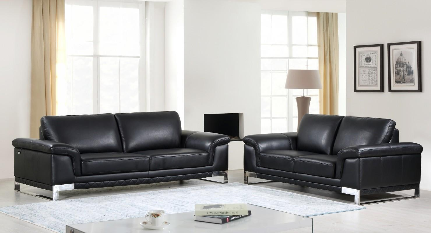 Black Genuine Italian Leather Sofa Set 2 Pcs Modern Global ...