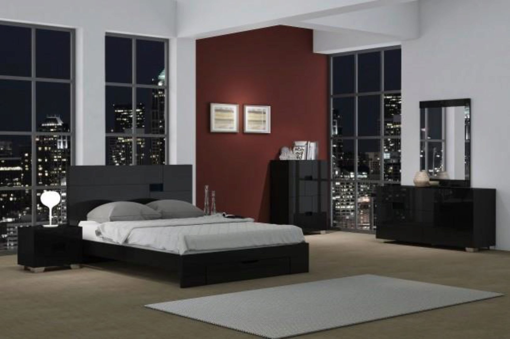 Black High Gloss Finish Queen Bedroom Set 3Pcs Modern ...