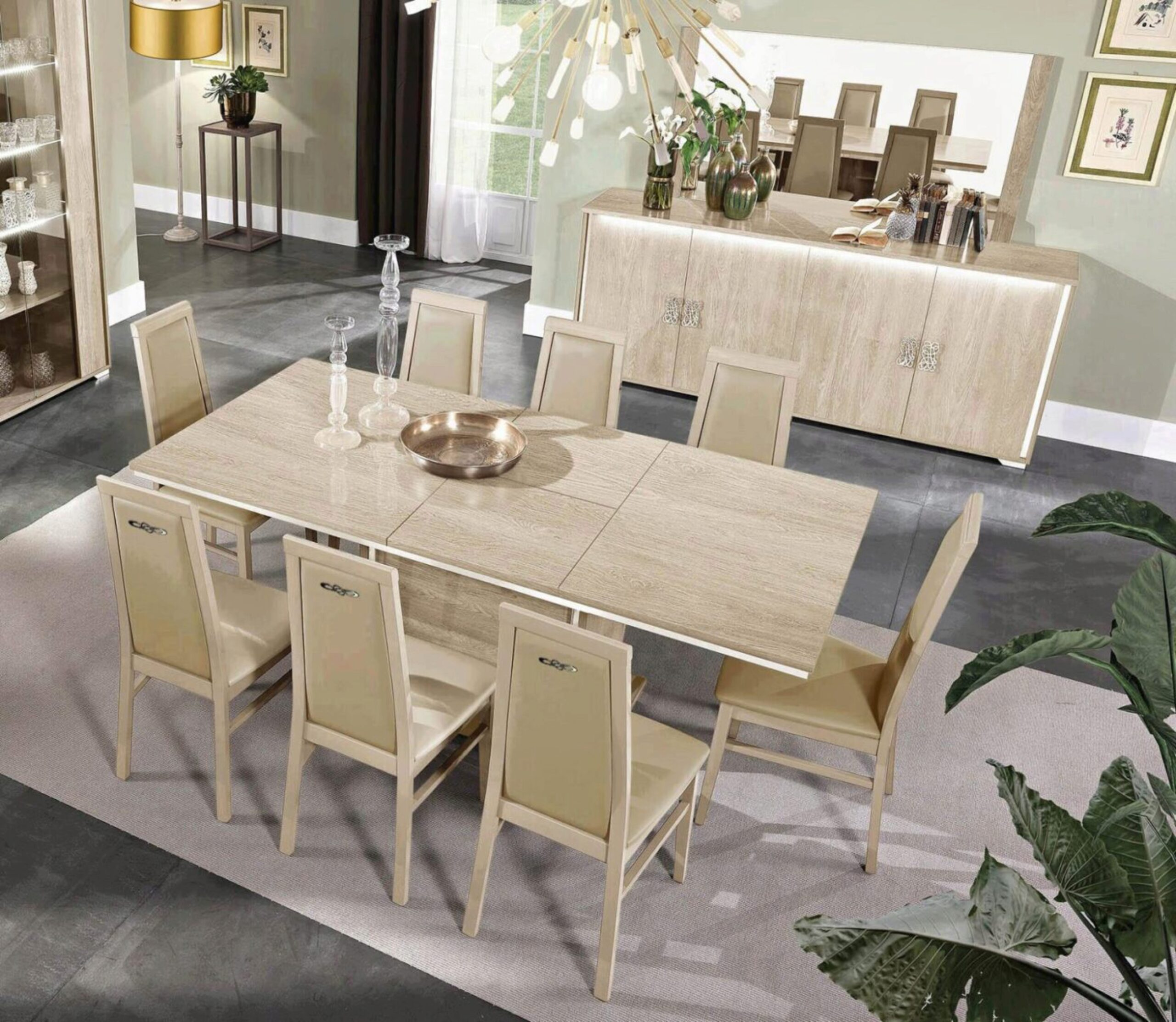 Glossy Beige Finish Dining Room Set W, Modern Dining Room Sets With Buffet