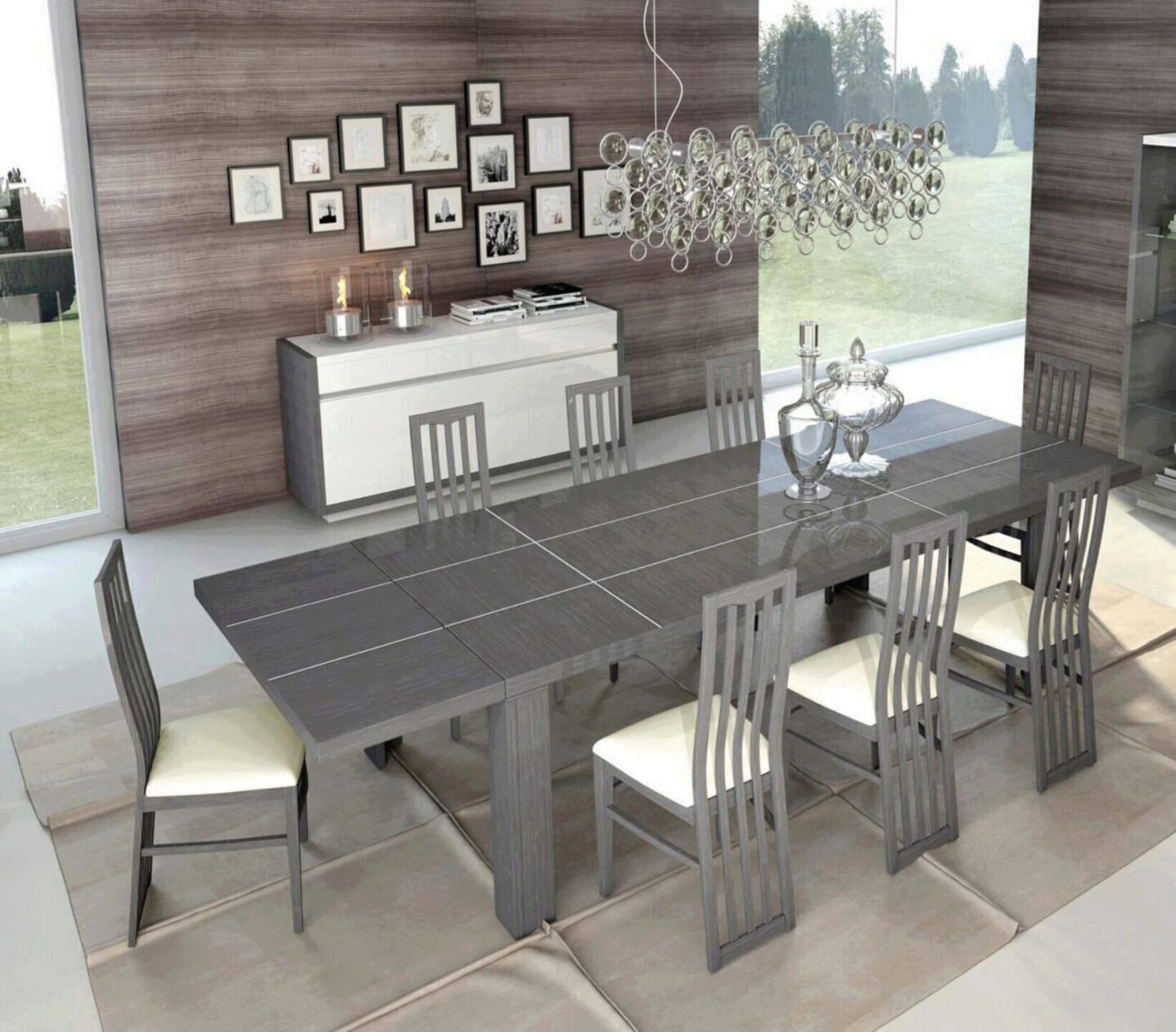 Glossy Grey White Finish Dining Set W, Modern Dining Room Sets With Buffet