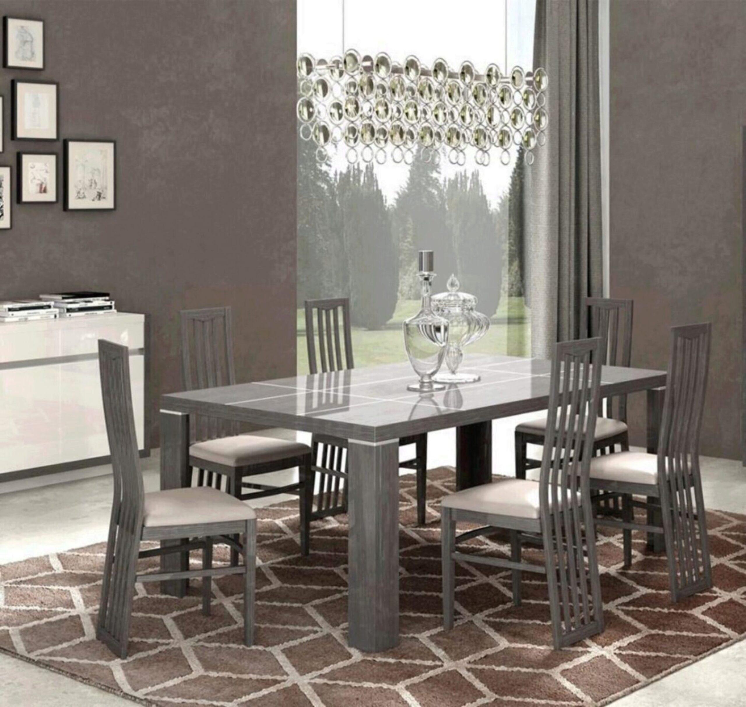 Glossy Grey White Finish Dining Set 7pcs Modern Made In Italy Esf Mangano Mangano Set 7