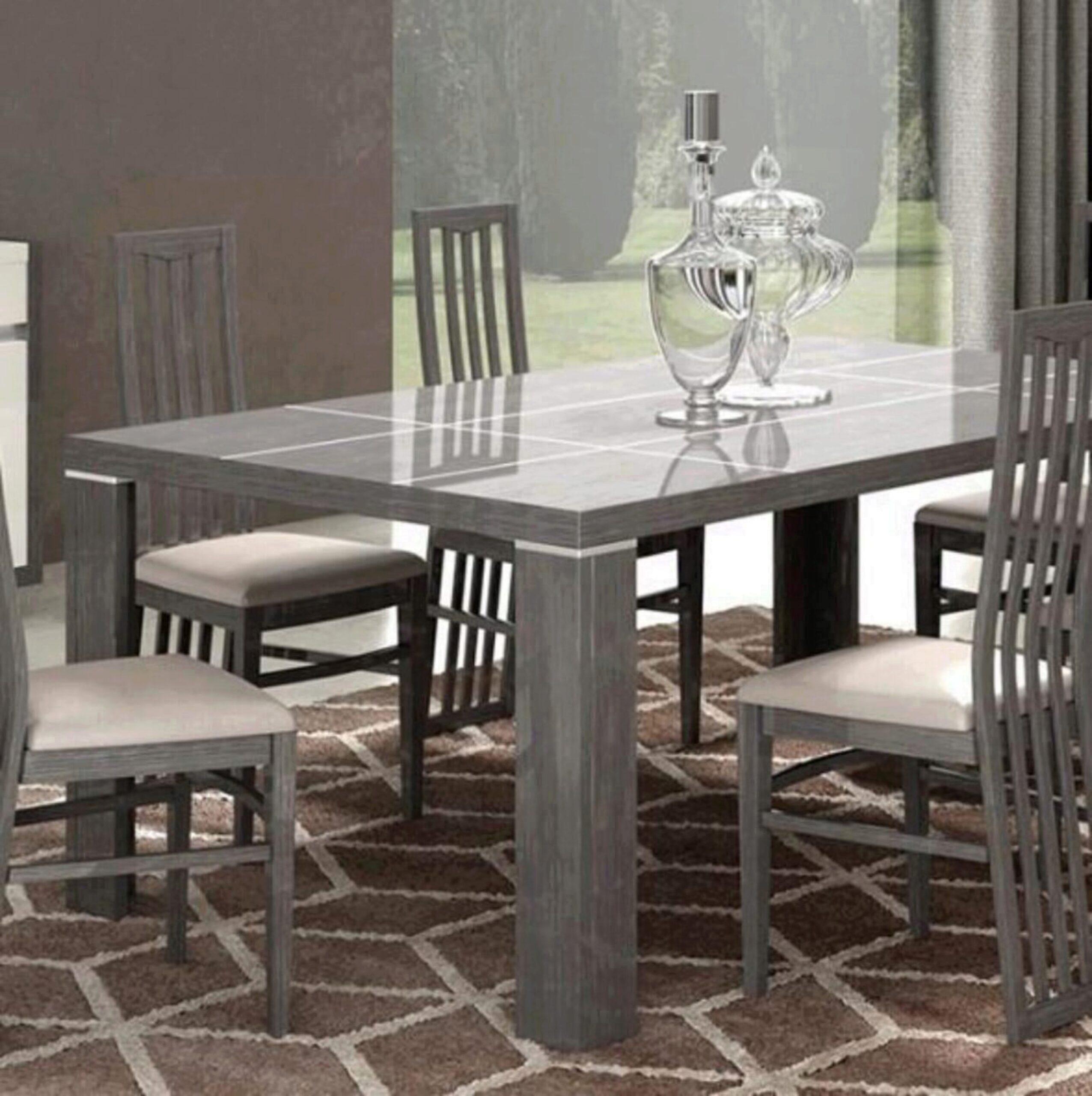 Glossy Grey & White Finish Dining Set 9Pcs Modern Made in Italy ESF Mangano